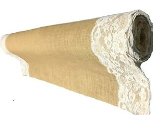"""Burlap Aisle runner 40 Inch X 75 foot , 5"""" White ribbon attached on both edges"""