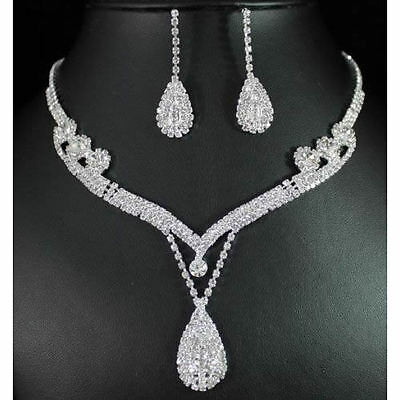 Wedding Prom Bridal Crystal Rhinestone Tear Drop Earrings Necklace Jewelry Set