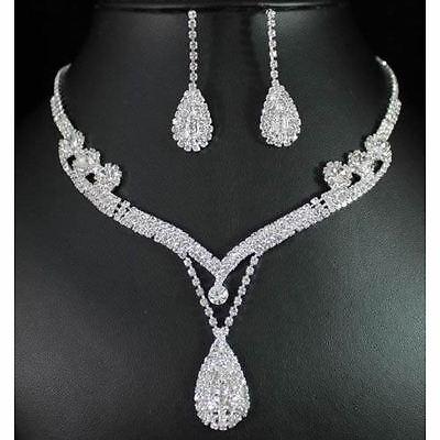 Wedding Prom Bridal Crystal Rhinestone Tear Drop Earrings Necklace Jewelry Set