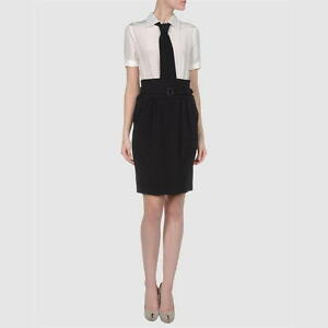 $795 SS16 MOSCHINO COUTURE x Jeremy Scott Black Construction Wool Dress XS S M L