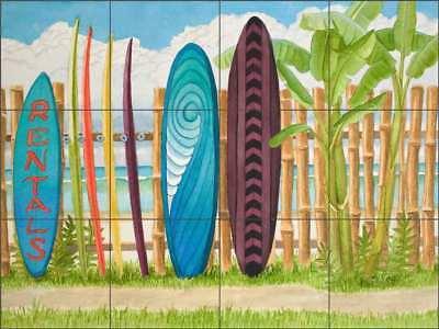 Tropical Surfboard Ceramic Tile Mural 18 x 12 Kitchen Shower Backsplash Got Surf by Evelyn Jenkins Drew