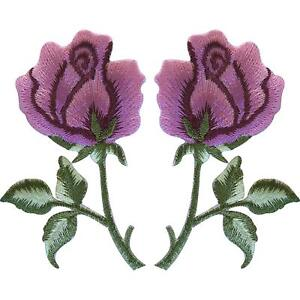Pair-of-Pink-Rose-Patches-Iron-Sew-On-Clothes-Embroidered-Flower-Patch-Badge