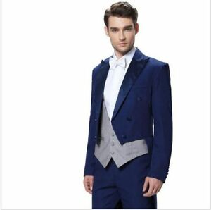 2017 Tailcoat Groom Blue (Jacket+Pants+Tie+Vest) Men Wedding Tuxedo Formal Suits