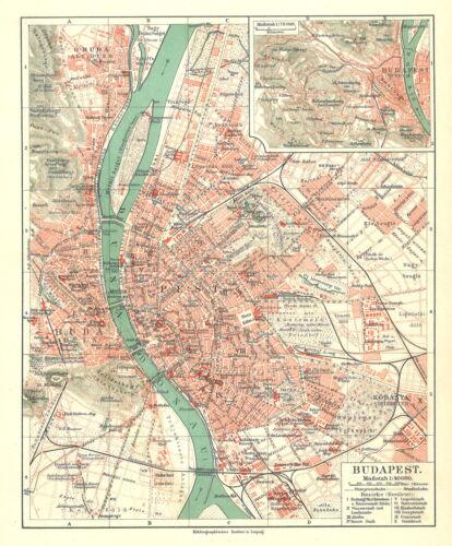 Stadtplan farbig Ungarn Historische B14 alte Stadtkarte 1898: Budapest