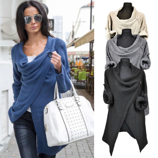 Womens Long Sleeve Knitted Jumper Cardigan Loose Sweater Outwear Jacket top Coat
