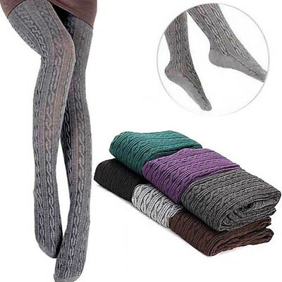 Women Fashion Knit Pantyhose Warm Stockings Tights Twist Stockings Cotton Winter