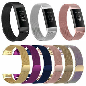 Edelstahl-Milanese-Magnet-Armband-Strap-Fuer-Fitbit-Charge-3-4-Fitness-Tracker