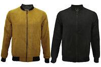 Mens Brave Soul Suede Look Bomber Style Comfort Lightweight Zip Up Jacket