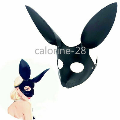 Faux Leather Fancy Eye Cover Hood Fox Mask Open Nose Blindfold Roleplay New