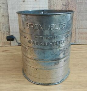 Vintage-Bromwell-s-Measuring-Sifter-Flour-3-Cup-Black-Handle-Made-in-USA