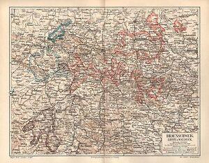 Braunschweig Lippe U Waldeck Detmold Arolsen Holzminden Landkarte