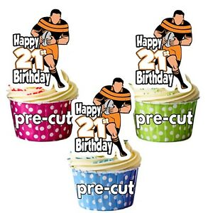 Image Is Loading 21st Birthday Rugby Themed Precut Edible Cup Cake