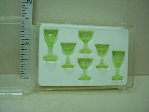 Dollhouse Miniature Cut Stemware 6 Piece 2 of each design Green - #CB110TG