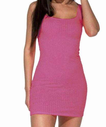 WOMEN/'S LADIES SQUARE NECK RIBBED BODYCON MINI DRESS BEST QUALITY