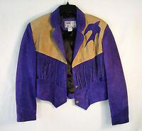 Leather City USA~Suede Leather Crop Jacket~Western Fringe~Purple & Tan Size M