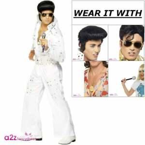 Mens Adult Elvis Presely King 50s Rock /& Roll Star Jumpsuit Fancy Dress Costume