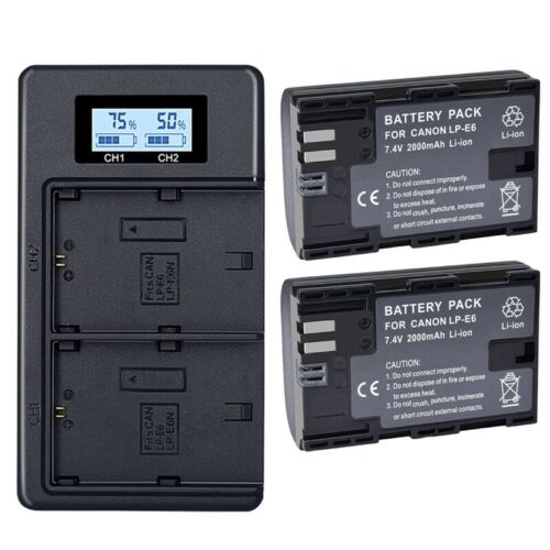 Batteria 2X Lp-E6 E6N Caricabatterie Doppio LCD 2000Mah per Eos 5Ds R 5D Ma M4V1