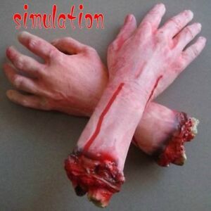 Bloody-Horror-Scary-Halloween-Prop-Fake-Severed-Lifesize-Arm-Hand-House-LS