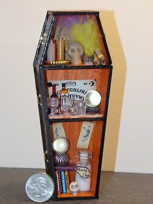 """Details about  /Dollhouse Miniature Coffin Opens Lined Unfinished Wood 1:12 Scale 6 3//4/"""""""