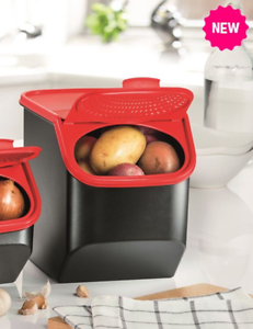 Charmant Details About Tupperware Potato Mate Storage Smart Modular Mates Black  Container Red Lid New
