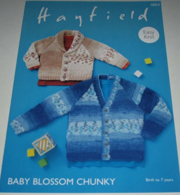 39e224c46 Hayfield Baby Blossom Chunky Cardigans Knitting Yarn Pattern Birth ...