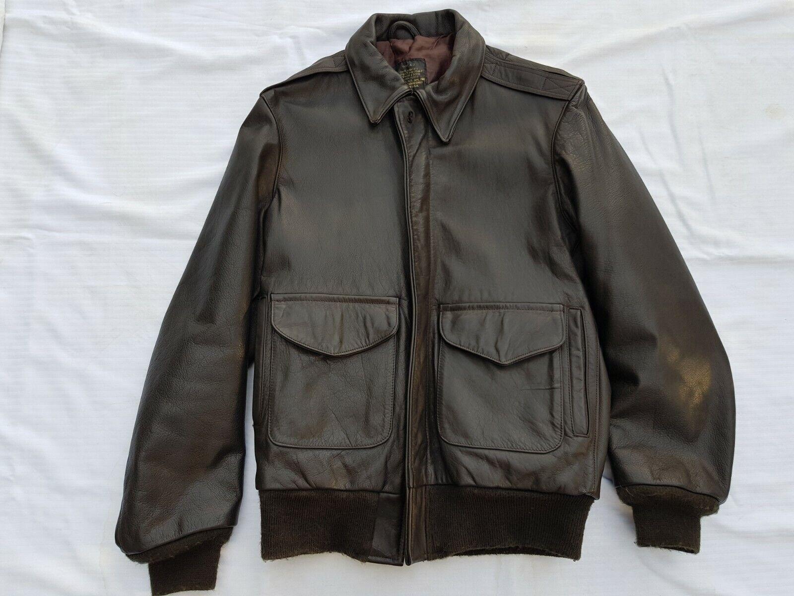 I. Spiewak & Sons Golden Fleece A-2 Leather Jacket Vintage Made In USA Größe 36