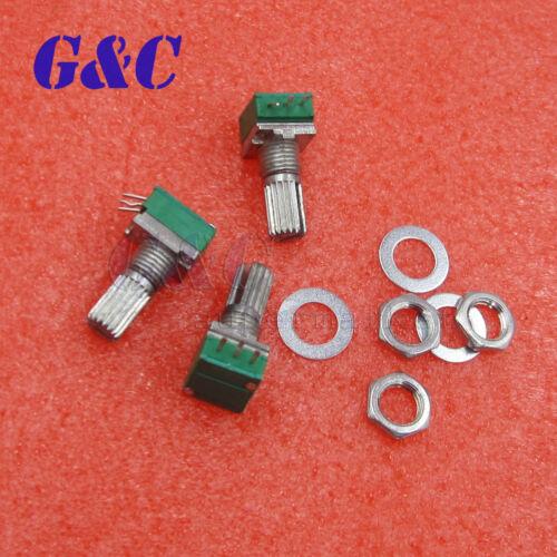 3PCS 6mm Knurled Single Linear B 10K ohm Rotary Potentiometer 3Pin