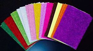 2-X-A4-SELF-ADHESIVE-FOAM-GLITTER-SHEETS-GREEN-RED-GOLD-PINK-XMAS-COLOURS