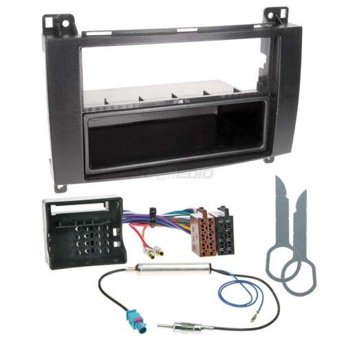 Autoradio Einbauset 1-DIN Mercedes B-Klasse 05-11 Kabel Einbaurahmen schwarz
