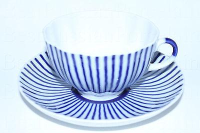 Russian Imperial Lomonosov Porcelain Tea Cup Ripple Russia Cobalt Net Frenchman