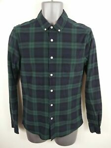 MENS-ASOS-NAVY-BLUE-GREEN-CHECKED-BUTTON-UP-LONG-SLEEVED-CASUAL-SHIRT-M-MEDIUM