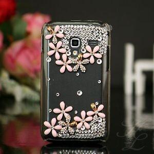 Samsung-Galaxy-ACE-Plus-S7500-Hard-Case-Handy-Schale-Hulle-Etui-Steine-Klar-Rosa
