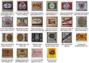 Bouteilles-Etiquettes-De-Biere-Whisky-Coca-Cola-Label-Etiquette-1890-1960