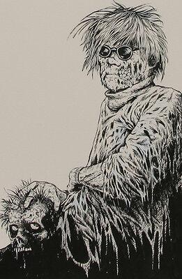 """DOUG SIROIS original art, ANDY WARHOL ZOMBIE,Image '68 unused cv ,12"""" x 18"""",2009"""