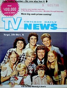 TV-Guide-1973-The-Brady-Bunch-Cast-Regional-TV-News-Chicago-Vintage-VG-EX-COA
