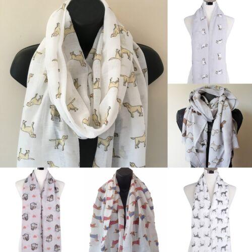 UK Womens Dog Breed Print Scarf ladies printed fashion shawl designer scarves