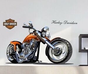 Details about 3d harley motorcycle wall stickers removable wall pictures  for living room kids