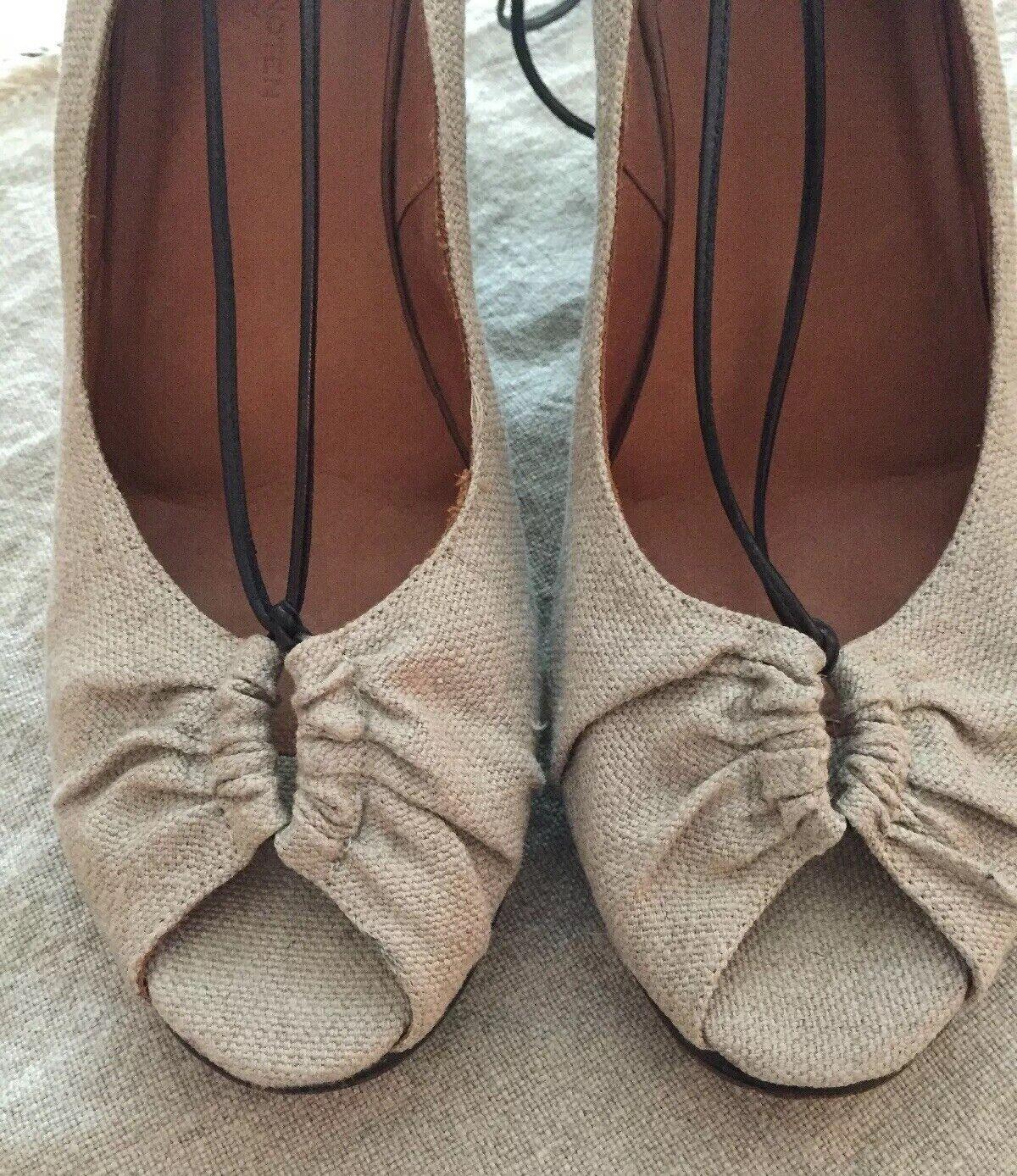 Dries Van Noten Naturlig Linje täckt med Peep Toe - Sandal Storlek 39.5 eller 9