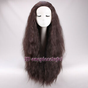 2016 New Movie Moana Wig synthetic long curly dark brown cosplay wig +a wig cap