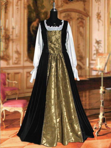 Chemise and Bodice Medieval Renaissance Baroque Dress Ensemble with Skirt