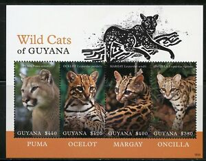 Guyana-2018-Les-chats-sauvages-du-Guyana-Feuille-je-Comme-neuf-NH