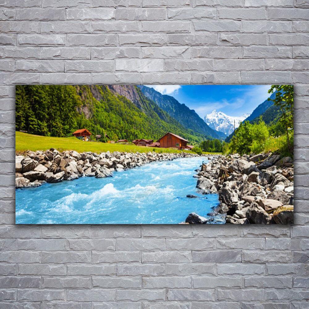 Wandbilder Glasbilder Druck auf Glas 120x60 Gebirge Steine See Landschaft
