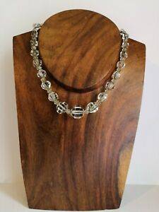 Rare-Antique-Late-Victorian-1890s-1900s-Cut-Crystal-Faceted-Glass-Necklace-VGC