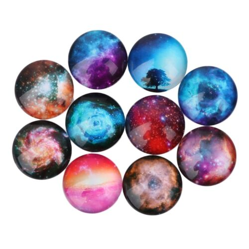 10Pcs Mixed 12//20mm Photo Image Galaxy Round Glass Cabochon Dome Flat Back Cover