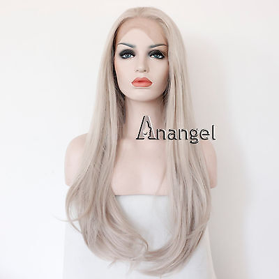 Long Straight Synthetic Silver Grey Lace Front Wig Heat Resistant Brazilian Hair