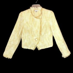 Cabi-Womens-Blazer-Jacket-Size-Small-Yellow-Daisy-Tweed-Fringe-Cotton-Cropped