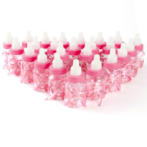 Milchflasche Babyflasche mit Bär Bogen Taufe Geburt Tischdeko GeschenkNeu 24Stk