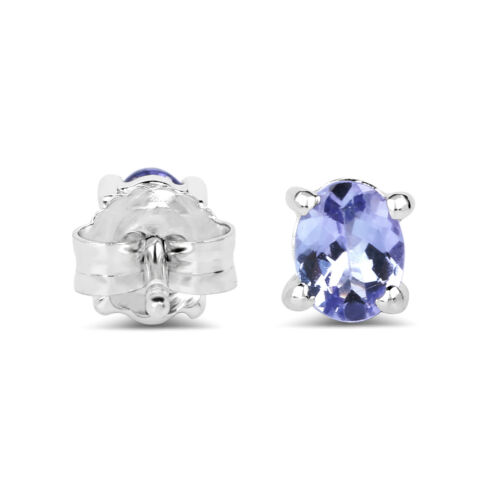0.66 ct Purple Tanzanite Push Back Stud Earrings 925 Sterling Silver Genuine