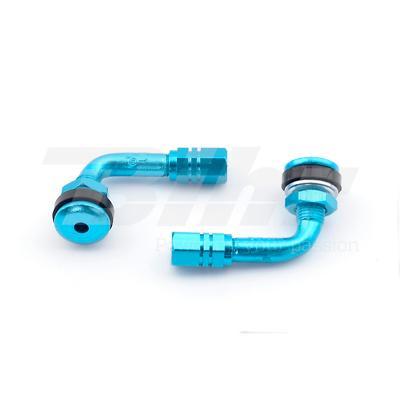 Vendita Economica Valvole Aria Cerchio Ruota A T 90° Ergal Blu Universali Per Moto Buell