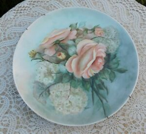 Antique-Floral-Flowers-Rose-Porcelain-Plate-Charger-Plaque-Hand-Painted-Signed